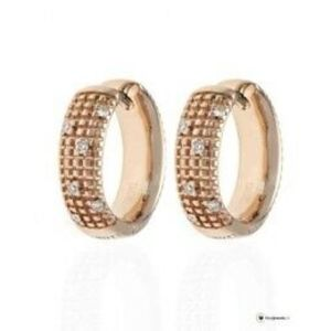DAMIANI 18K ROSE GOLD WITH DIAMOND HOOP EARRINGS